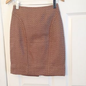Maeve Herringbone Tan Brown Pencil Skirt Sz 2
